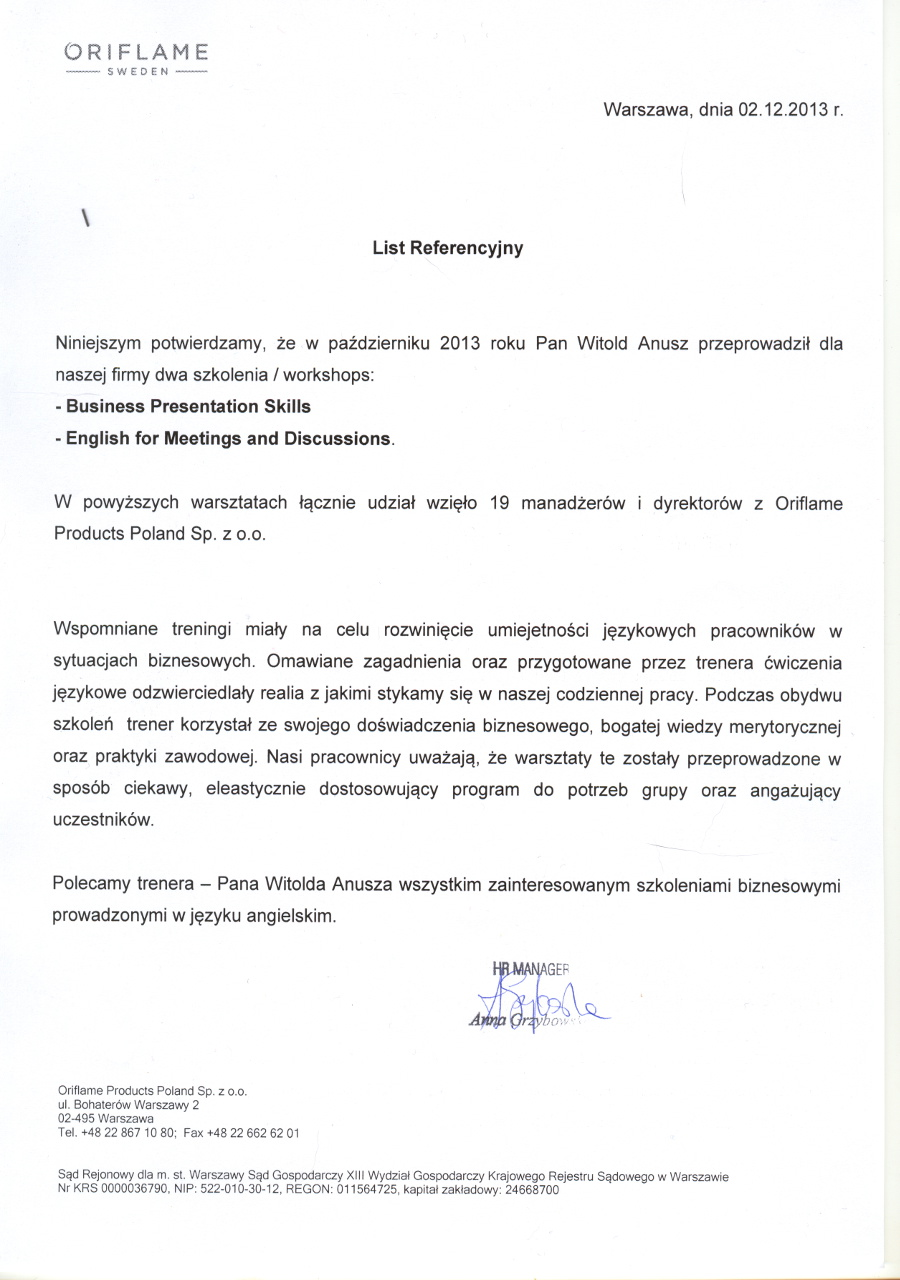 ORIFLAME POLAND Sp. z o.o.